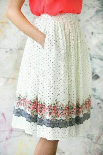 skirt polka dots flowers vintage