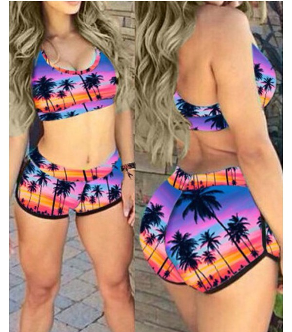 Top Crop Tops Crop Cropped Sportswear Sports Bra Sports Shorts Sports Top Summer Outfits Summer Summer Top Summer Shorts Palm Tree Print Palm Tree Tropical Tropical Swimwear Tropical Print Shorts Tropical Shorts
