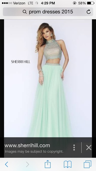 dress mint green prom dress two-piece