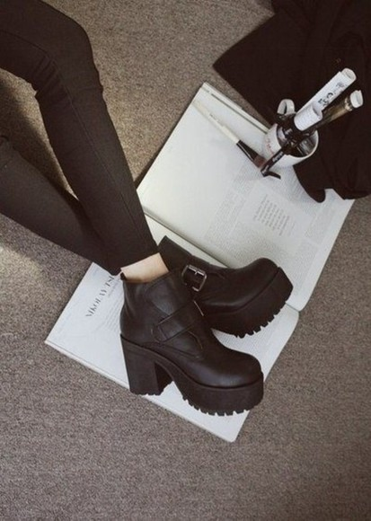 shoes wedge high heels boots jeans black shoes black boots platform shoes