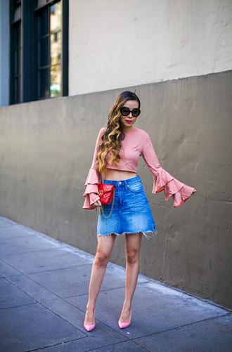 skirt denim skirt raw hem skirt cropped blouse ruffle sleeves wide sleeves clutch sunglasses blogger blogger style pumps
