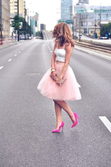 tulle light pink midi length skirt clothes cut skirt tutu skirt shoes shirt lace white crop top tulle skirt white bustier high heels midi baby pink