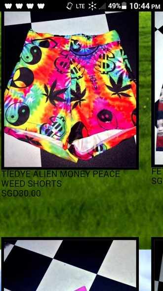 shorts tie dye shorts ying yang weed print high waist shorts money sign graphic shorts