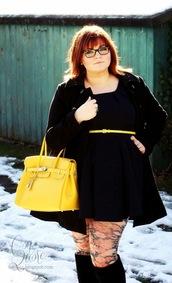 dress,boots,clothes,belt,bag,coat,yellow,Floral tights,curvy,yellow bag