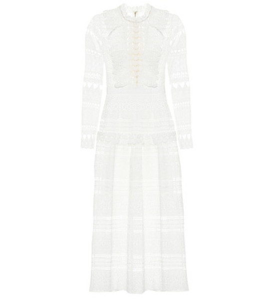 Self-Portrait Lace midi dress in white