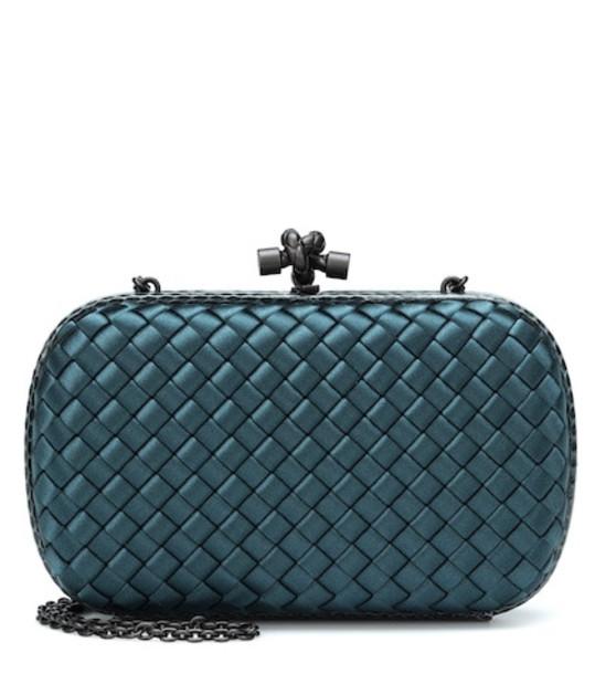 Bottega Veneta Knot snakeskin-trimmed satin clutch in blue