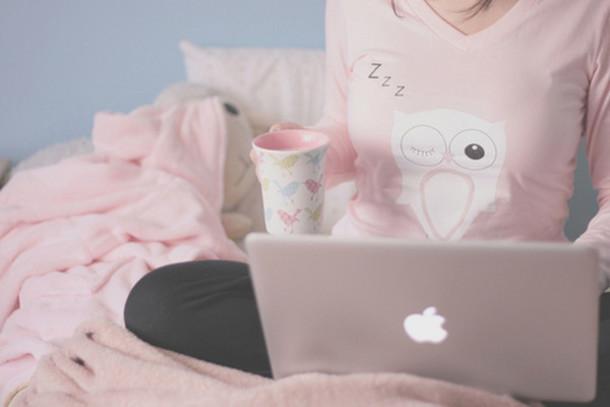 shirt pajamas macbook mug tea coffee blanket pink blanket owl sleep sleeping bedding