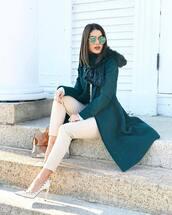 coat,tumblr,teal,blue coat,fur scarf,scarf,pants,nude pants,winter work outfit,pumps,pointed toe pumps,high heel pumps,white heels,sunglasses,bag,printed bag