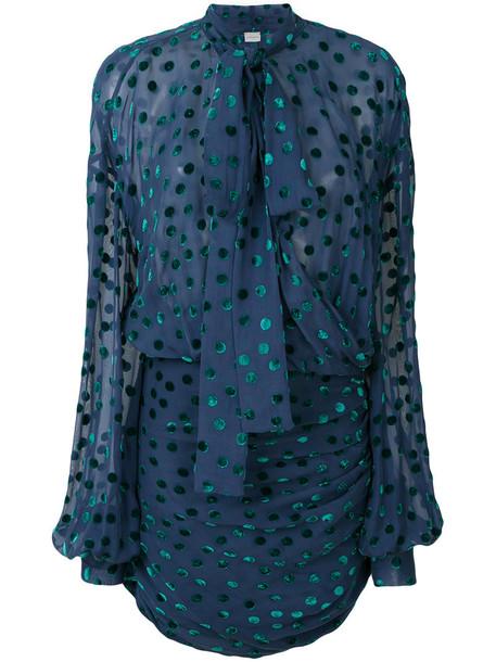 Magda Butrym - polka dot blouse - women - Silk/Viscose - 38, Blue, Silk/Viscose