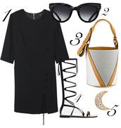 blame it on fashion,blogger,dress,sunglasses,black dress,three-quarter sleeves,gladiators,shoes,bag,jewels