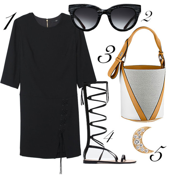 blame it on fashion blogger dress sunglasses black dress three-quarter sleeves gladiators shoes bag jewels