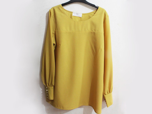 vintage fashion clothes top clothing blouse blouses mustard blouse bayo mcclaugherty tops