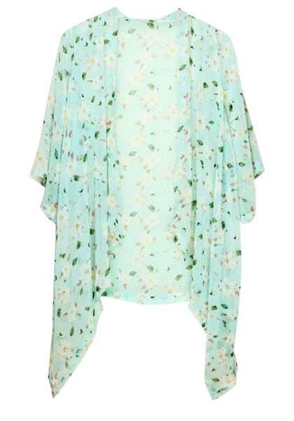 Floral Crop Sleeves Kimono - Top | Lookbook Store