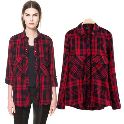 Autumn Spring 2014 Fashion Cotton Long Sleeve Lapel Collar Red & Black Plaid Womens Blouse Shirt Tops with Pocket Free Shipping-in Blouses & Shirts from Apparel & Accessories on Aliexpress.com