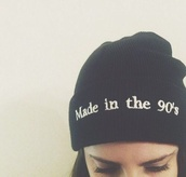 beanie,grunge,90s style,hat,made in the 90s,90s beanie,black beanie,black,white,bonnet,noir,made in the 90's,blanc,hipster,vintage,hair accessory