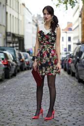 from brussels with love,blogger,jewels,floral dress,red heels,clutch,dress,shoes,bag