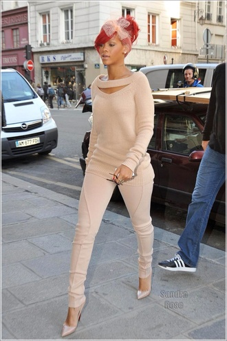 sweater nude matching pants and top rihanna knitted sweater pants