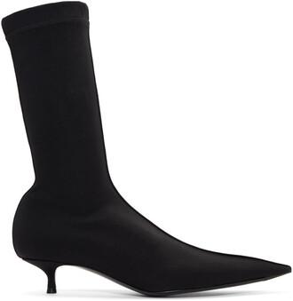 heel sock boots black shoes
