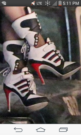 shoes harley quinn sneakers sneaker heels lace up heels lace up sneaker heels punk white rivet riveted rivets shoelaces black and white