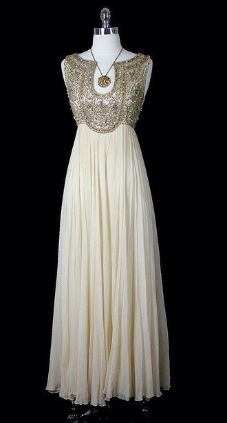 dress pleated gold sequins vintage prom dress top gold elegant long