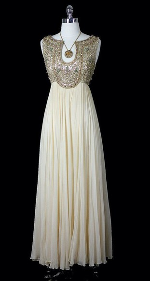 dress pleated dress gold sequins prom dress vintage
