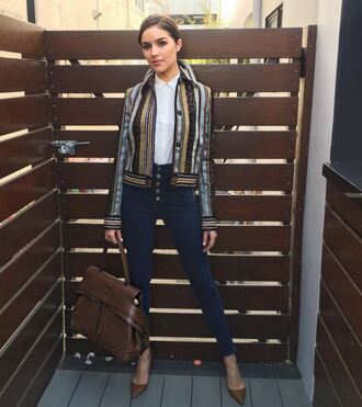 jacket jeans pumps olivia culpo fall outfits shirt instagram sunglasses