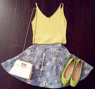 floral top daisy bag style skater skirt vest daisy skirt