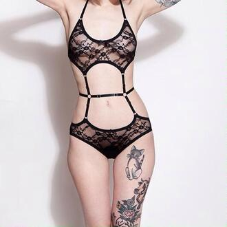 underwear black lace crochet lingerie lace lingerie black lace black lingerie sexy stripes see through body bodysuit lace bodysuit garter tattoo waist