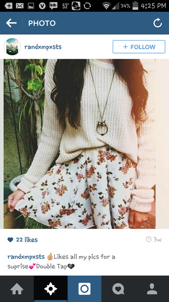 bethany mota flowers owl tumblr outfit sweater jewels shirt