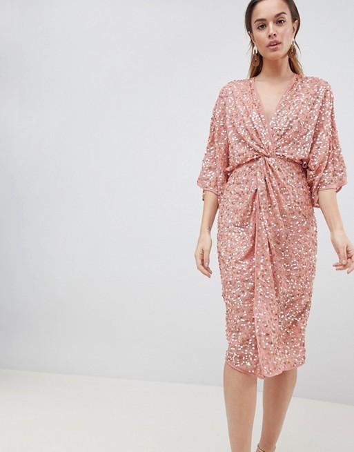 ASOS DESIGN scatter sequin knot front kimono midi dress at asos.com