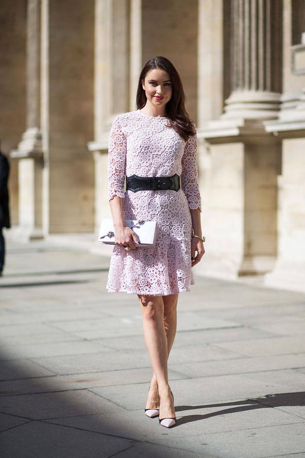 dress lace dress fashion week 2014 streetstyle