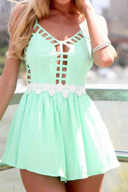 Dress: mini dress, green, green dress, mint, mint, mint dress ...