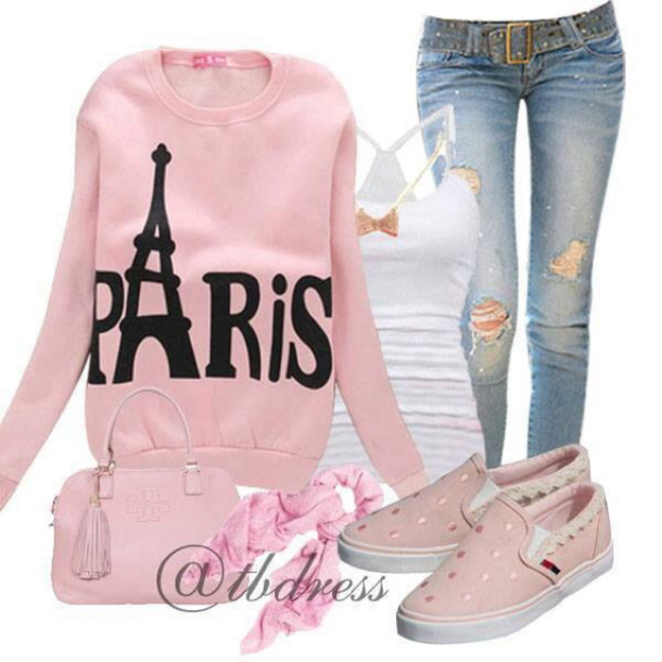 sweater paris pink jeans hoodie shoes bag scraf pants t-shirt
