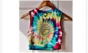 top,crop tops,tie dye top,colorful,cropped