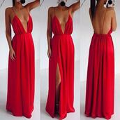 red dress,v neck,v neck dress,spaghetti strap,slit dress,party dress,sexy dress,evening dress,maxi dress,dress,long,sexy,red,sexy v-neck dress,long dress,red carpet dress