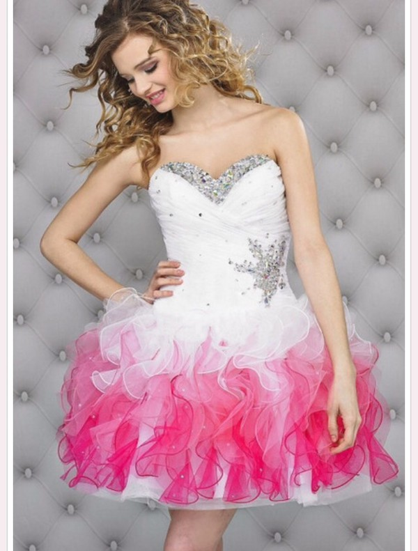 dress white and pink white dress prom dress cutie ombre dress t?llrock pink dress pink dress short prom dress