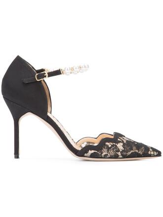women pumps leather black silk shoes