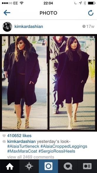 coat black coat kim kardashian