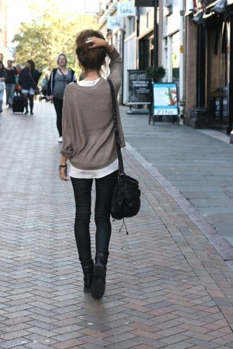 indie grey blue jeans bag black diesel military style boots hair skinny denim jeggings knitwear band white top t-shirt pull brown shoes pullover sweater