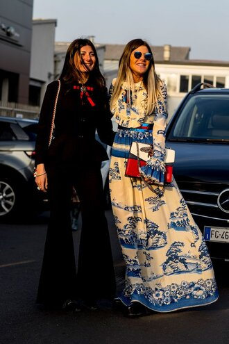 dress tumblr maxi dress long dress printed dress bell sleeves long sleeves long sleeve dress sunglasses bag pants black pants blazer black blazer flare pants fashion week 2017 fashion week streetstyle milan fashion week 2017 bell sleeve dress