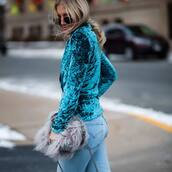 jacket,tumblr,teal,velvet,velvet blazer,blue blazer,bag,grey bag,furry bag,denim,jeans,blue jeans,sunglasses