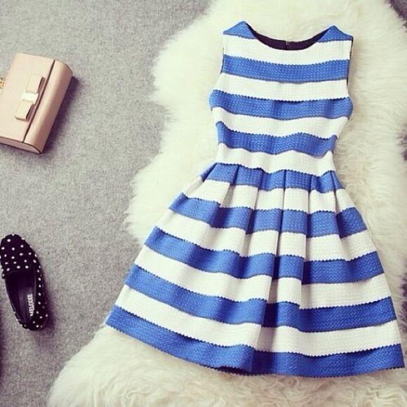 cute dress blue dress girly white stripes. blue stripes armless casual chic dress stripes striped dress