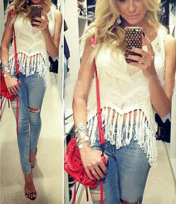 Top: white top, ripped jeans, skinny jeans, crop tops, red bag ...