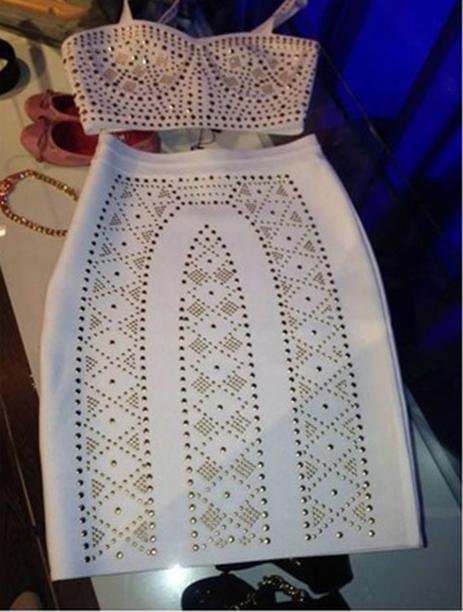 Fashion rivet two piece dress high quality