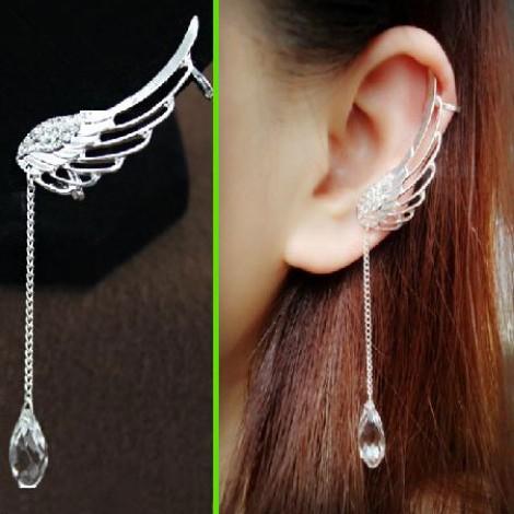 Angel's wing dangling rhinestone ear cuffs