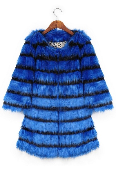 Elegant Striped Faux Fur Coat by Oasap | Chictopia