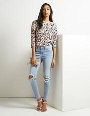 Vila ripped knee skinny jeans