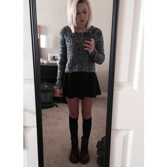 sweater jumper choker necklace skirt boots shoes