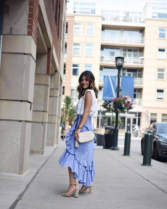 skirt tumblr wrap ruffle skirt ruffle wrap skirt blue skirt asymmetrical skirt asymmetrical sandals sandal heels high heel sandals shirt sleeveless bag shoes