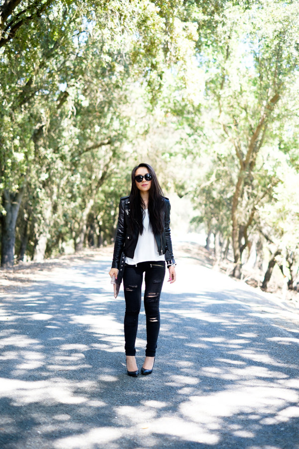 the fancy pants report blogger jeans jacket shoes sunglasses